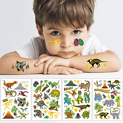 HIQE-FL Kinder Dino Tattoo,Dino Sticker,Dinosaurier Tattoo Kinder,Tattoo Kinder,Glitzer Dinosaurier Temporäre Tattoos Set,Dinosaurier Kindertattoos Aufkleber