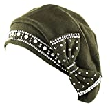 The Hat Depot Women's Handmade Warm Baggy Fleece Lined Slouch Beanie Hat (Olive4908)