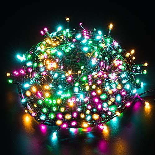 Elegear Luci Natale Esterno 50M 500LEDs Impermeabile Luci Albero Natale Catena Luminosa per Camere da Letto Giardino Feste Matrimonio con 8 Modalità di Illuminazione