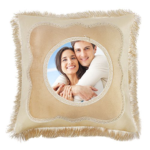 BXT Make Your Own DIY Throw Pillow Cover - Custom Pillowcase with Picture Square Cushion Pillow Slip w/Personalized Photo & Logo & Text,Birthday/Wedding/Valentines Day/Graduation