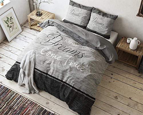 SLEEP TIME Bettwäsche Baumwolle True Dreams, 200cm x 200cm, Mit 2 Kissenbezüge 80cm x 80cm, Grau