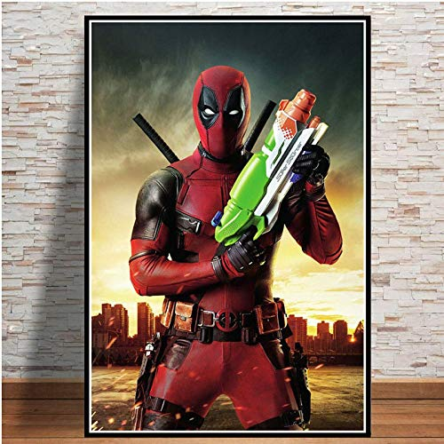 YF'PrintArt Canvas Prints, Deadpool Funny Movie Toilet Posters And Wall Pictures For Living Room Nordic Decoration Home Decor Mural 50X70Cm Frameless,-Yf723