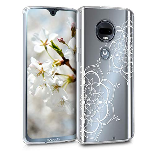 kwmobile Hülle kompatibel mit Motorola Moto G7 / Moto G7 Plus - Handyhülle - Handy Hülle Blumen Zwillinge Weiß Transparent