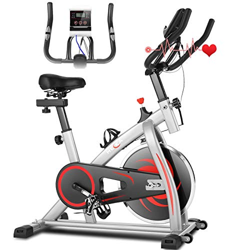 Heka Bicicleta Estática para Fitness, Bicicleta Spinning Bici Estática de Interior, Bicicleta de Ejercicio Resistencia Ajustable con Pantalla LCD&APP&Monitor de Frecuencia Cardíaca