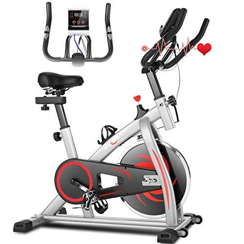 Heka Heimtrainer Fahrrad, Heimtrainer für zu Hause, Indoor Cycling Bike, Fitnessbike Mit Herzfrequenzmonitor, Verstellbarer Widerstand & LCD-Display, Schwungrad 13 kg, max. Gewicht 150 kg
