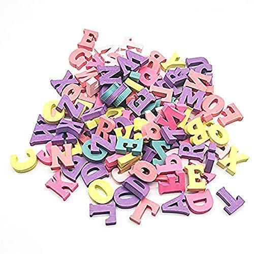 100 Stücke Natürliche Hölzerne Kleinbuchstaben Alphanumerische Handwerk Anhänger DIY Dekorative Hauptdekoration, Schule, Spiele, DIY(Farbige Buchstaben)
