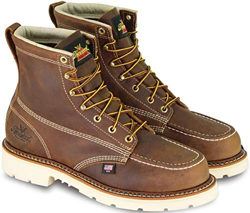 Thorogood 804-4375 Men's American Heritage 6' Moc Toe, MAXWear 90 Safety Toe Boot, Trail Crazyhorse - 12 2E US