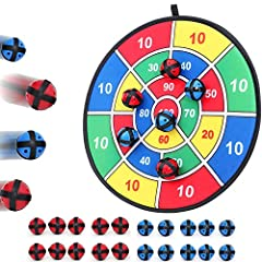 Classic dart game with safety in mind using plastic balls instead of sharp darts 20 balls included in this set. 20 blue and red colored balls with 1 fabric board Great for impriving hand-eye coordination, math and number skills, and just fun Hang the...