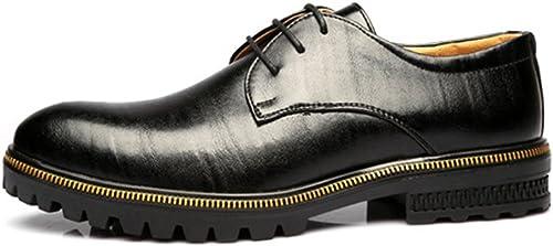 Z.L.F Herren Formelle Schuhe Matte Echtes Leder Lace Up Atmungsaktiv Gefüttert Starke Laufsohle Halbschuhe (Farbe   Schwarz Größe   7.5MUS)