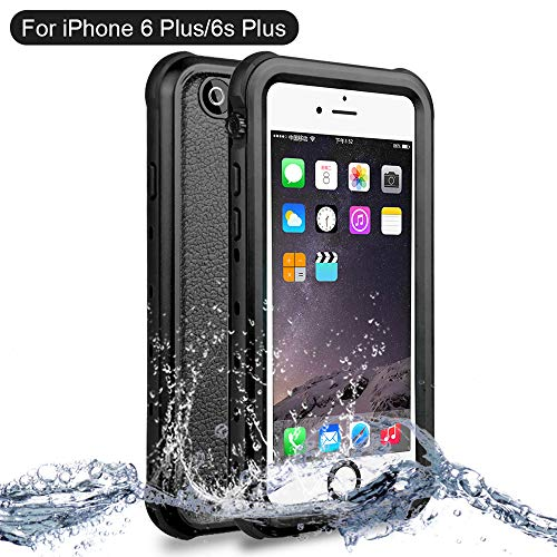 Custodia impermeabile iPhone 6/6s Plus, NewTsie Antiurto Cover IP68 Certificato Slim Subacquea Caso Full Protezione Custodia Protettiva per iPhone 6/6s Plus 5.5 inch (B-Nero)