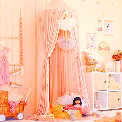 Minache Bed Canopy with Frills Mosquito Net Crib- Bed Canopy Hanging Curtain for Single to Fits All Cribs Rooms, Baby Bassinet, Garden, Camping