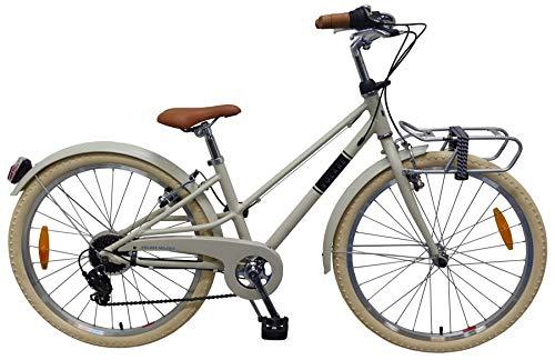 Volare Melody Prime Collection - Bicicleta infantil (24 pulgadas, marco de aluminio, 2 frenos de llanta, 6 marchas, iluminación portaequipajes, Edad 8-10 años), color arena