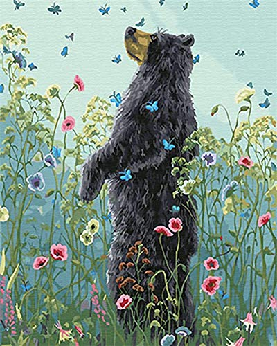 MYQF DIY oil painting Flower butterfly black bear 40x50cm with Brushes Paints and Canvas Home Decor for Adults Children Seniors Junior Beginner Level Acrylics Painting Kits