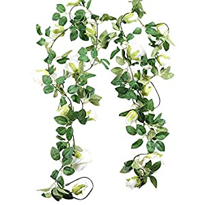3pcs 19.5ft Artificial Rose Vine Fake Silk Rose Hanging Vine Flowers Garland for Outdoor Wedding Arch Garden Wall Decor (White)