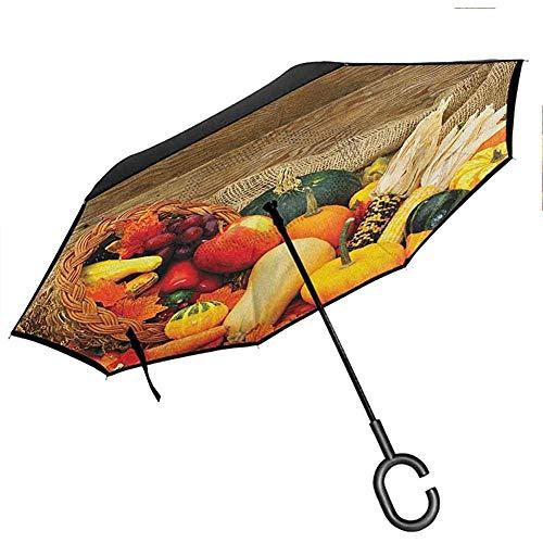 Ernteschirme für Frauen mit UV-Schutz Frisches Bio-Obst und Gemüse auf Holztisch Natürliche vegane Optionen Winddichter UV-Schutzschirm