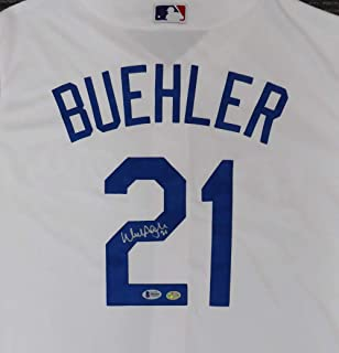 Los Angeles Dodgers Walker Buehler Autographed White Majestic Cool Base Jersey Size L Beckett BAS Stock #144505