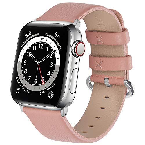 Fullmosa kompatibel mit Apple Watch Armband 44mm 40mm 42mm 38mm, Lederband Ersatzband für Frauen Männer, Klassische Leder Armband für iWatch SE/Series 6/Series 5/4/3/2/1