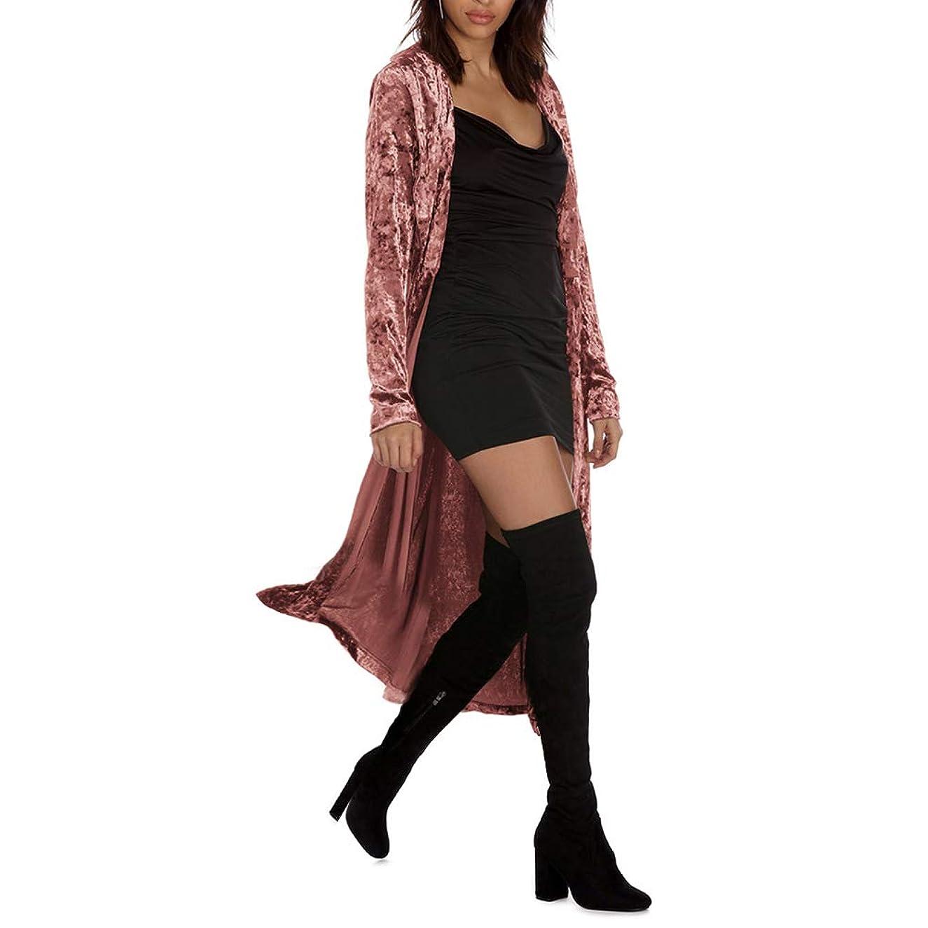 Women's Long Velvet Cardigan Open Front Vintage Outerwear Maxi Long Sleeve Blazers Coat