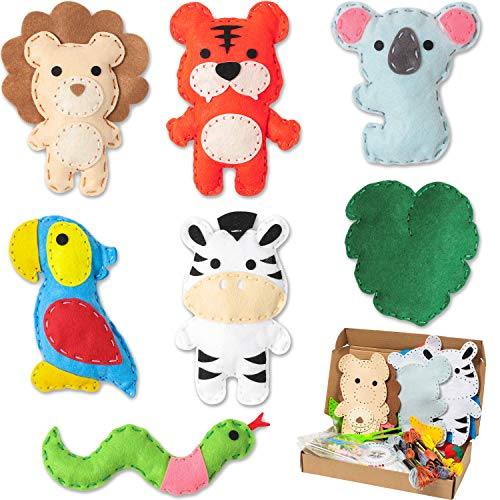 WATINC 7Pcs Jungle Animals Sewing Kit for Kids DIY Art Craft Sew Kits Cute Wild Animal Parrot Tiger Koala Lion Zebra Snake Leaf Creative Indoor Activity Party Supplies Fun Gift for Girls Boys