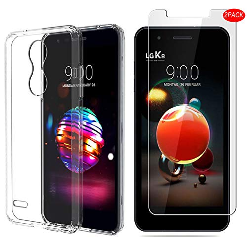 LG K9 Hülle mit Bildschirmschutzfolie,MYLBOO[3 in 1] Transparent Weich TPU Handytasche + [2 Pack] 9H gehärtetes Glas Bildschirmschutzfolie [HD Ultra] [Anti-Scratch] Für LG K9