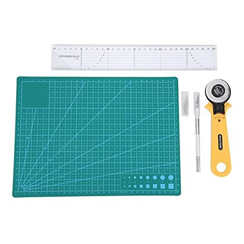 Akozon Kit de sastre Cortadora de Tela y Cuero 45mm Alfombrilla de corte Cortador rotatorio Regla de Patchwork con Bolsa