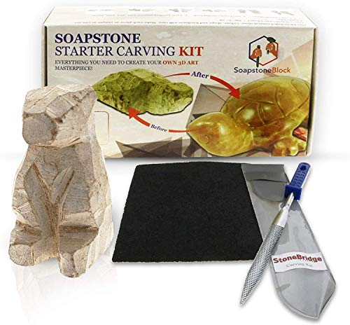 Stonebridge Imports Soapstone Carving Kit - 6 Pcs Includes One Block, Steel Rasp Carving Tool, and 4 Grit...