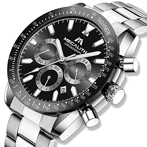 MEGALITH Reloje Hombre Relojes de Pulsera Cronografo Diseñador Impermeable Reloj Hombre de Acero Inoxidable Analogicos Fecha Business Casual Deporte Negro