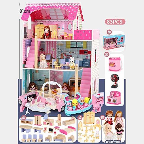 OUPAI Häuser für Modepuppen Holzpuppenhaus, 3-Geschichte Puppenhaus und Möbel Kit mit Möbel und Puppen, Pretend Play House, for Kleinkinder 2-10 Jährige (Size : 83pcs)