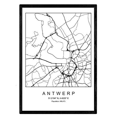 Leaf Antwerpen stadskaart Noordse stijl zwart en wit. Posterframe op A3-formaat Het bedrukte papier Geen 250 gr. Schilderijen, prints en posters voor woonkamer en slaapkamer
