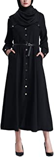 BOOB-88 Womens Dresses, Muslim Women Islamic Pure Color Button Plus Size Middle East Long Dress Robe