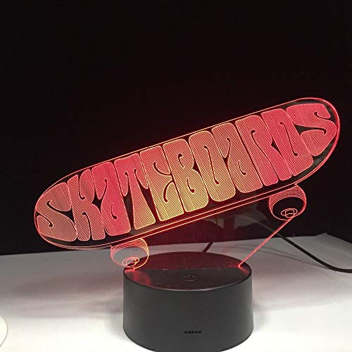 Sporting Skateboard 3D Tischlampe Kinder Spielzeug Geschenk LED USB Dreidimensional Innovative Desktops DownNight Lichtregler Mood Remote Decoration GX1956