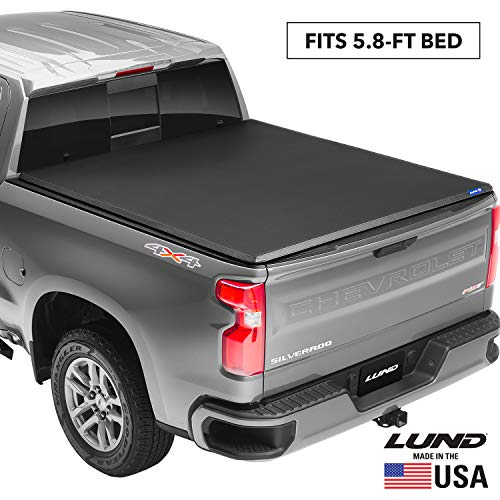 """Lund Genesis Tri-Fold, Soft Folding Truck Bed Tonneau Cover   950292   Fits 2019 - 2021 Chevy/GM Silverado/Sierra, works with MultiPro/Flex tailgate 5' 10"""" Bed (69.9"""")"""