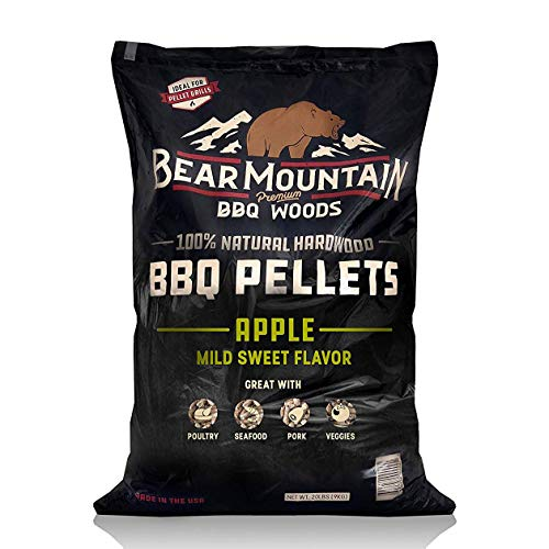 Bear Mountain BBQ 100% All-Natural Hardwood Pellets – Apple Wood (20 lb. Bag) Perfect for Pellet Smokers, or Any Outdoor Grill | Mild Sweet, Smoky Wood-Fired Flavor