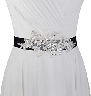 Sparkling Rhinestones Bridal Belt Sashes Pearl Wedding Belts Sash for Wedding