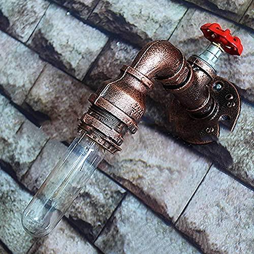 IBalody E27 Retro Tubería De Agua Grifo Lámpara De Pared Industria De Hierro Forjado Luz De Pared Decoración Café Bar Pared Protección Ocular Luz Suave Luces De Pasillo