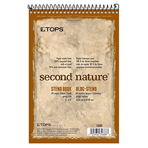 """TOPS Second Nature Steno Books, 6"""" x 9"""", Gregg Rule, 80 Sheets, 12 Pack (74688)"""