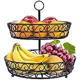 Frutero de 2 Pisos, Cesta de Frutas de Metal para Frutas Verduras Bocadillos - 30 x 30cm, Negro