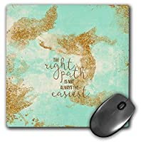 3dRose Mouse Pad The Right Path is Not-Trendy Girly Glitter Motivation Words on Mint, 8 x 8' (mp_272939_1) [並行輸入品]