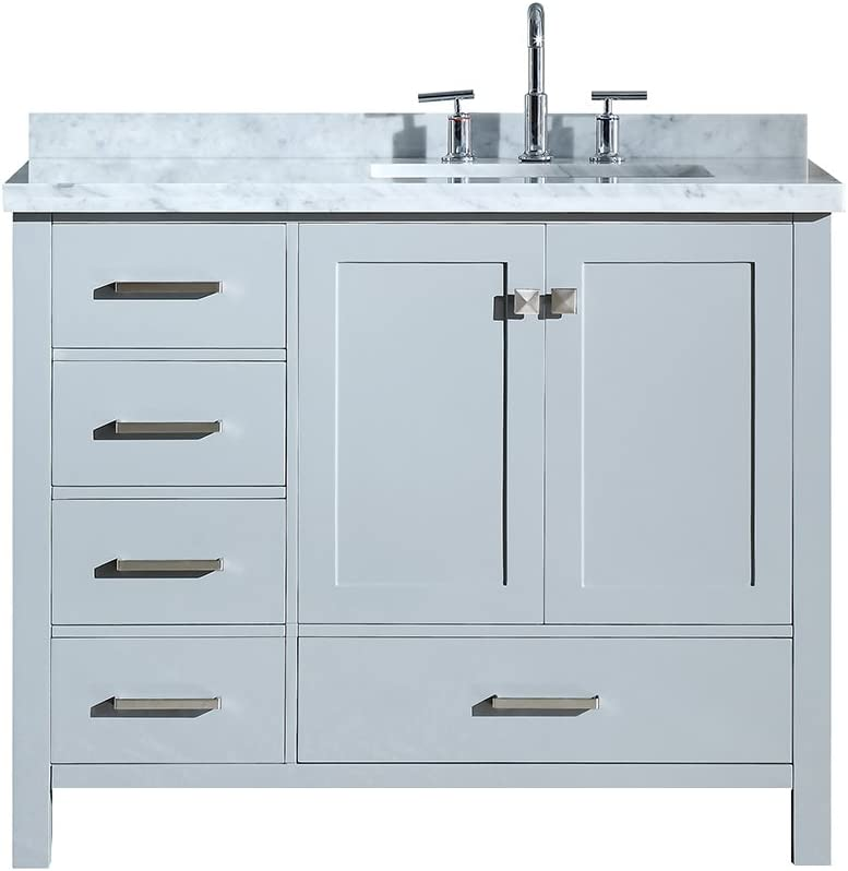 Amazon Com Ariel Cambridge A043srcwrvogry 43 Inch Single Right Offset Rectangular Sink Solid Wood Grey Bathroom Vanity Cabinet With 1 5 Inch Edge White Carrara Marble Countertop And Backsplash Kitchen Dining