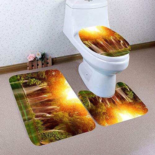 ZNBMTD 3Pcs Toilet Seat Cover Natale Bagno Antiscivolo Piedistallo Coperchio Coperchio WC Tappetino da Bagno Set Cuscino Copriwater Tappetino da Bagno