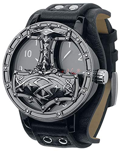 etNox Time Thors Hammer Männer Armbanduhren schwarz Kunstleder, Zinklegierung Mjölnir, Rockwear