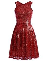 Sleeveless V-back Short Sequin Red Dress