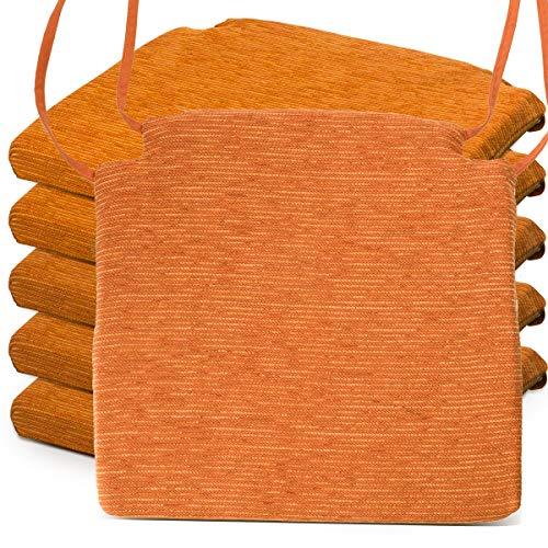 BCASE, Pack de 6 Cojines de Asiento y Silla Espuma Fantasy, 40x40cm, Desenfundable con Cremallera, Cómodos, Resistentes, Fácil de Limpiar, para Cocina, Cuarto, Etc. Naranja