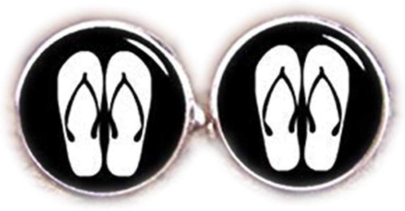 Death Devil Art Picture Cuff Links,Flip Flops Cufflinks, Slipper Cufflinks, Custom House and Living Things Silhouette, Custom Wedding Cufflinks, Groom Cufflink, Tie Clip, Gift,Gift of Love