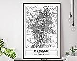 MG global - Medellin Karte Druck, Medellin Karte Poster,