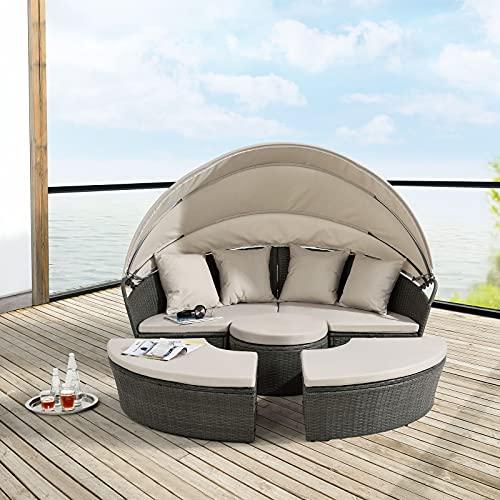 BJYX gartenlounge Sonneninsel Sonnenliege Sitzgruppe Gartenmuschel Garnitur Lounge Polyrattan