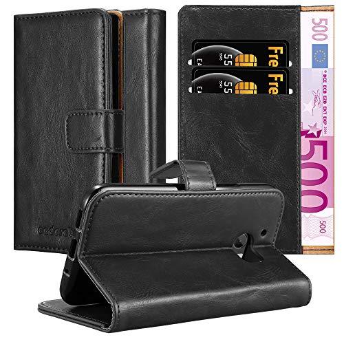 Cadorabo Hülle für HTC One M10 - Hülle in Graphit SCHWARZ – Handyhülle im Luxury Design mit Kartenfach & Standfunktion - Hülle Cover Schutzhülle Etui Tasche Book