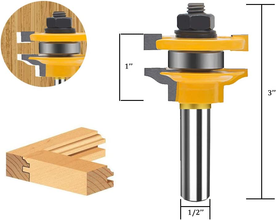 TAIWAIN 1//2 Inch Shank Router Bit Sets 3PCS Round Over Raised Panel Cabinet Door Rail /&Stile Woodworking Miter Carbide CNC Cutting Tool for Cabinet Drawer Door Surfacing L-DH+SH