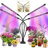 KEAWEO Lámpara de Plantas, Lámpara de Cultivo de Plantas Iluminación Hortícola, Luz de Planta de 80 LED 4 Cabezales Temporizador Automático Lámpara de Crecimiento de Espectro Completo
