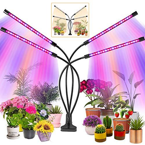 KEAWEO Pflanzenlampe Led, Pflanzenlicht, Pflanzenleuchte 40W 80 Leds, Wachstumslampe Vollspektrum Wachstumslampe für Zimmerpflanzen mit Zeitschaltuhr, 3 Arten von Modus,10 Helligkeitsstufen